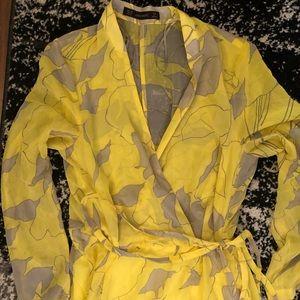 Zara Dresses - Zara yellow and gray pattern wrap dress
